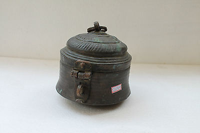 Antique Hand Crafted Engraved Copper Round Tomb Shape Chapati Bread Box NH2687