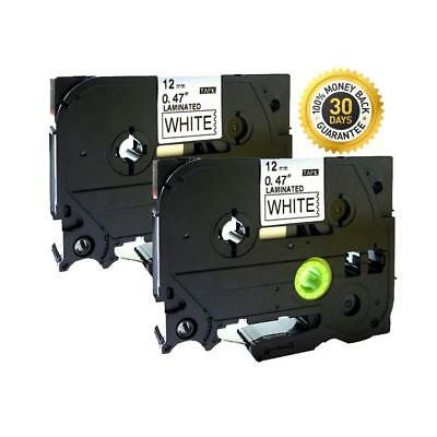 2PK Compatible Black on White Label Tape 12mm for Brother TZe231 P-Touch 26.2ft