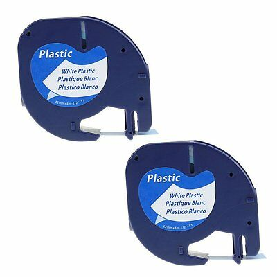 2PK 91331 91201 Black on White Label Tape Compatible Dymo LetraTag Plastic 12mm