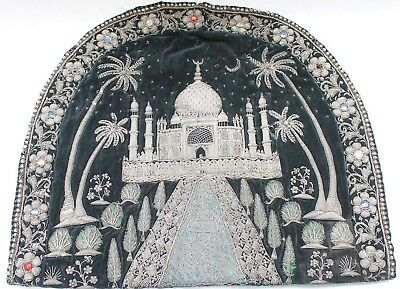 Antique Old Islamic Tajmahal Silver Thread Work Zardosi Collectibles Nh5080