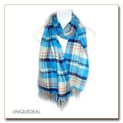 "New Fashion D&Y Tartan Plaid Winter ""SOFTER THAN CASHMERE?""Scarf / Blue"