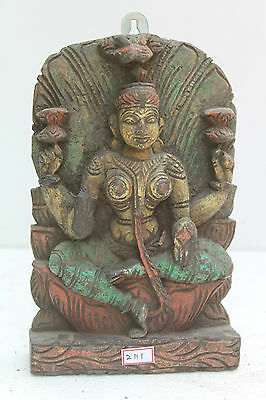 Vintage Old Wooden Hand Carved Goddess Laxmi Wall Hanging Figurine Statue NH2111