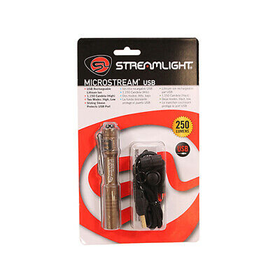 "Streamlight MicroStream Flashlight with 5"" USB Cord & Lanyard in Coyote 66608"