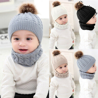 Toddler Kids Baby Boy Girl Fur Pom Hat Winter Warm Knit Bobble Beanie Cap Scarf