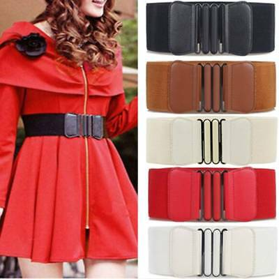 Womens Ladies Faux Leather Wide Elastic Buckle Thin Waist Belt Waistband AU