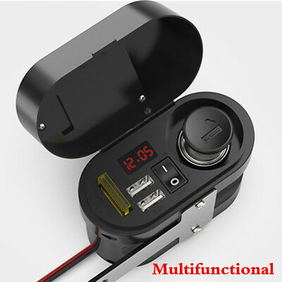 Motorcycle Handlebar Cigarette Lighter Dual USB Charger+Switch+LED Voltmeter