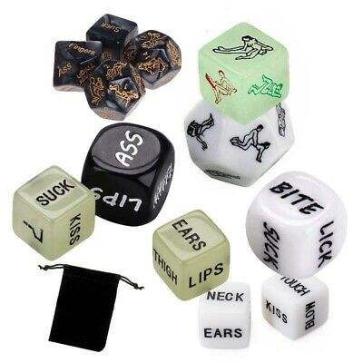 Glow in the Dark & White Sex Dice Adult Lover Bedroom Game Party Stocking Filler