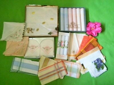 Vintage Handkercheifs X27 Ladies Rosedale Dents Stoffles Iris Some Boxed Hankies