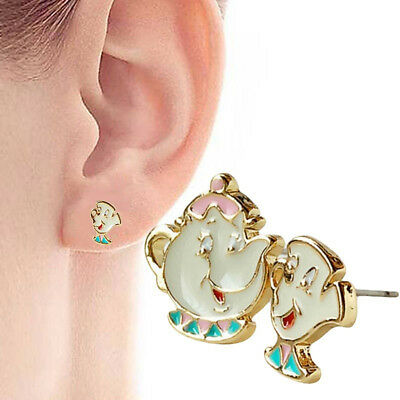 Women'sLovely Cartoon Beauty And The Beast Earrings Cute Teapot Ear Studs