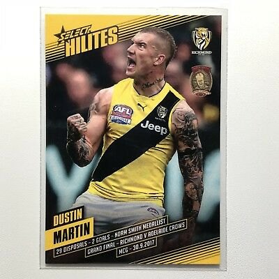 2017 Afl Select Hilites Dustin Martin Grand Final Richmond Tigers Card Limited