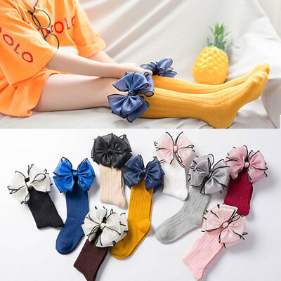 1 Pair Kids Socks Soft Cotton Girls Baby Socks Big Bow Frilly Knee High Socks