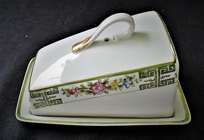 1910s RISING SUN NIPPON Japan Hand Painted CHINESE ROSE Domed Cheese/Butter Dish