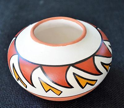 "Native American Indian Pottery by SANDIA JEMEZ PUEBLO NM Handmade 2 1/2""h Vase"