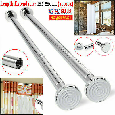 125-220cm Extendable Telescopic Shower Curtain Rail Pole Rod Bath Window Chrome