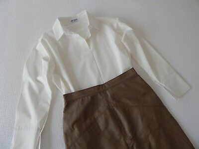 Genuine Vintage 80s 90s 'RAPALLO' Taupe Leather Fitted Skirt 8 10 VG