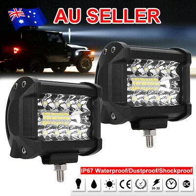 2x 4inch CREE LED Work Light Bar Spot Flood OffRoad Reverse Ford Driving 4x4 4WD