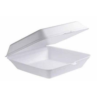 200x Foam Dinner Box Clam TakeAway Container Large Disposable 230X230X75mm CHEAP