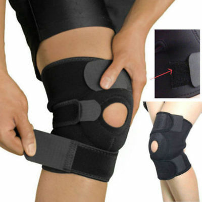 Black Neoprene Adjustable Open Knee Patella Tendon Support Brace Sleeve 2018 NEW