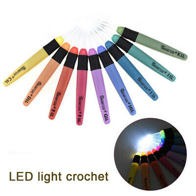 1/8/9pcs LED Light Up Crochet Hook Knitting Needles Set Weave Sewing Craft Tool