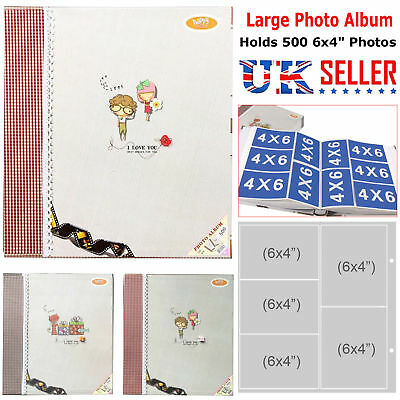 "Large Photo Album Book Holds 6x4"" 500 Photos Memories Slip in Design Ring Binder"
