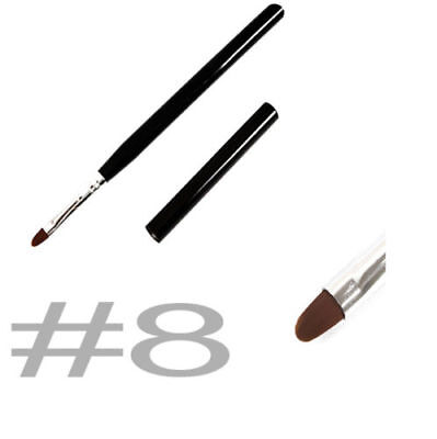 BLACK WOOD FLAT OVAL ACRYLIC NAILS GEL SCULPTURE BRUSHES NAIL SIZE #8 BRUSH 15cm