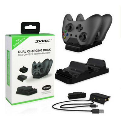 For XBox One Dual Dock Charging Controllers Station Base Charger +2 Battery Pack
