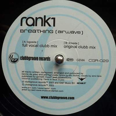 """12"""": Rank 1 - Breathing (Airwave) - Clubbgroove Records - CGR-029"""