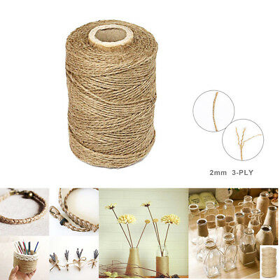 3Ply 100m Natural Brown Soft Jute Rope Twine Sisal String For Art Gift Bottle EL