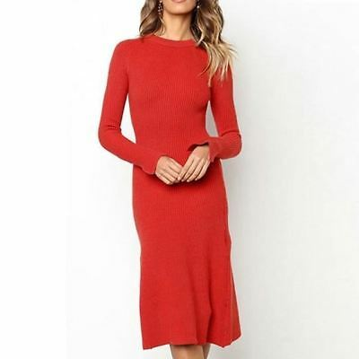 8d4b90f10f451 WOMENS PLUS SIZE Solid Simple Long Sleeve Bodycon Midi Dress 1550 ...