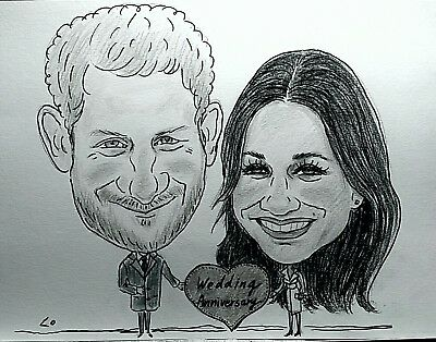 Personalised Caricature of two people in b/w from photo your Wonderful gifts
