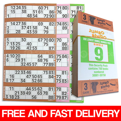 750 Books 3 Page Game Strips Of 6 Tv Jumbo Bingo Ticket Sheet Big Bold Numbers