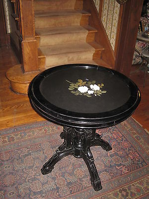 Antique Pietra Dura Marble Top Table With Victorian Eastlake Ebonized Wood Base