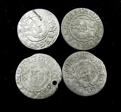 Authentic Lot Of 4 Medieval Silver Hammered Coins - G939