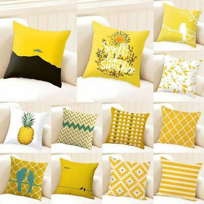 """18"""" Yellow Geometric Home Decorate Cotton Throw Square Pillow Case Cushion Cover"""
