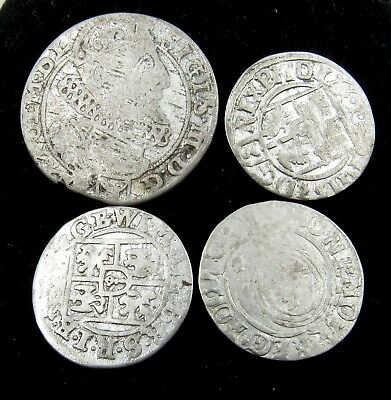 Authentic Lot Of 4 Medieval Silver Hammered Coins - G940