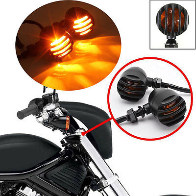 2xBlack Motorcycle Turn Signals Mini Bullet Amber Turn Indicators Lights Lamp SE