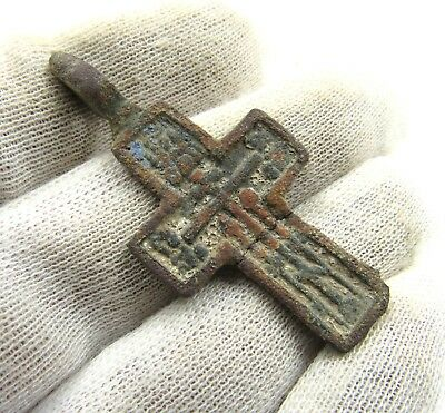 Authentic Late Medieval Bronze Cross Pendant - Wearable - G954