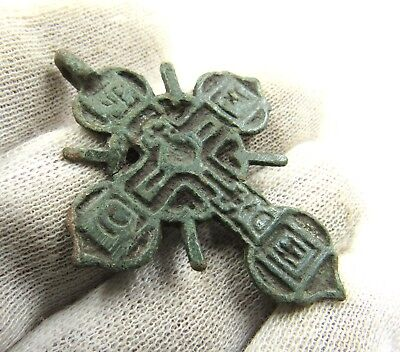 Authentic Late Medieval Bronze Radiate Cross Pendant - Wearable - G956