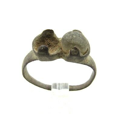 Authentic Late Medieval Tudor Bronze Ring W/ Stone In Bezel - Wearable - G965