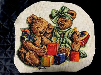 Playing Teddy Completed Cross Stitch
