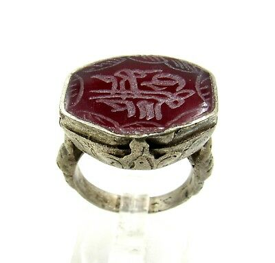 Authentic Post Medieval Silver Ring W/ Carnelian Script - Wearable - G968