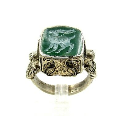 Authentic Post Medieval Silver Ring W/ Carved Intaglio Stag - G969