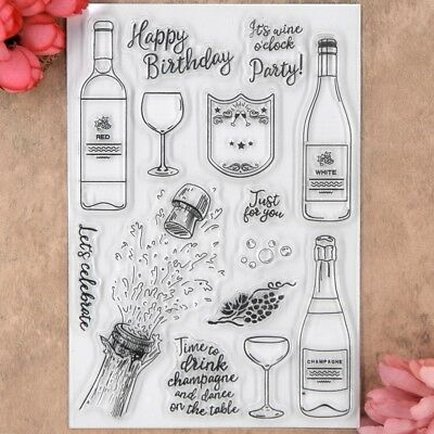 Happy Birthday Party celebrate drink Scrapbook DIY clear stamp transparent stamp