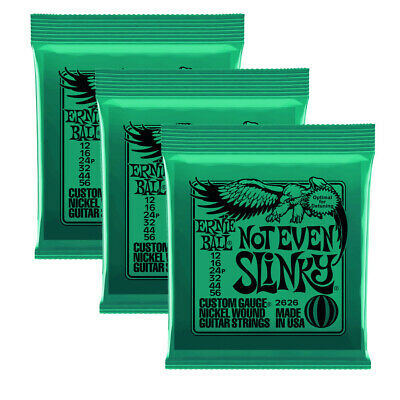3 x Ernie Ball Not Even Slinky Nickel Wound Set, Electric Guitar Strings 12-56