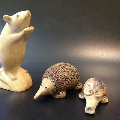 Two x  Hand Crafted Stoneware Figures - Aussie Echidnas - So Cute So Different