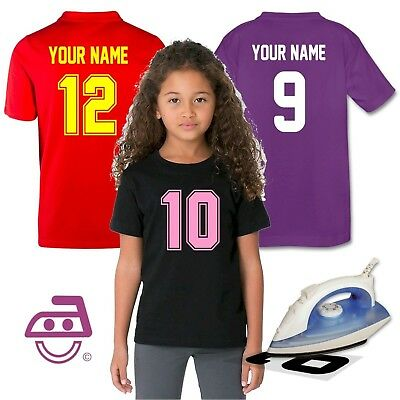 Iron On Numbers Letters Transfer Kids Sports Football Soccer Jersey Uniform