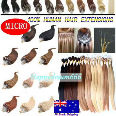 100% Real Remy Human Hair Micro Bead Ring Loop Tip Hair Extensions 18/22Inch 7A