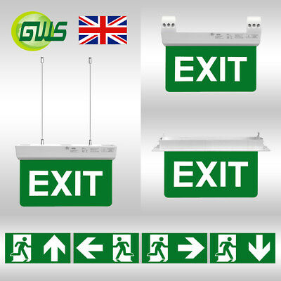 LED Emergency Bulkhead Exit Lights Green Arrow Sign Maintained/Non-Maintained CE