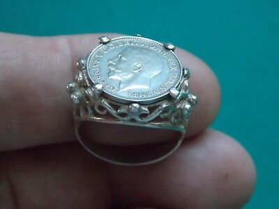 vintage silver stamped hand made coin ring metal detecting detector finds