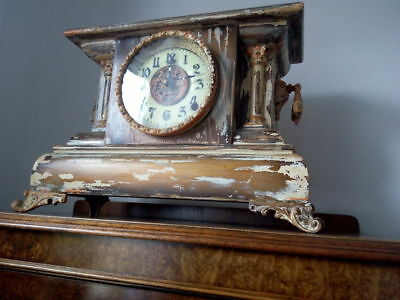 Antique French Mantle Clock Reclaimed Wood